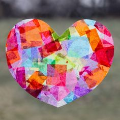 Vibrant Rainbow Heart Suncatchers are easy for kids to create in 3 simple steps. Don't they glow beautifully in the afternoon sunlight?