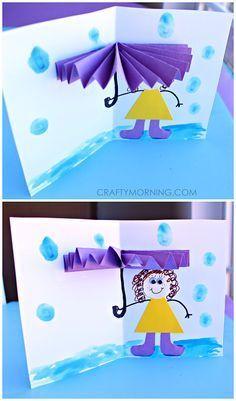 3D Umbrella Rainy Day Card for Kids to Make (Spring craft)   CraftyMorning.com