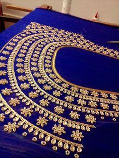 Saved by radha reddy garisa Pattu Saree Blouse Designs, Blouse Designs Silk, Choli Designs, Bridal Blouse Designs, Blouse Patterns, Hand Work Design, Hand Work Blouse Design, Simple Blouse Designs, Embroidery Works