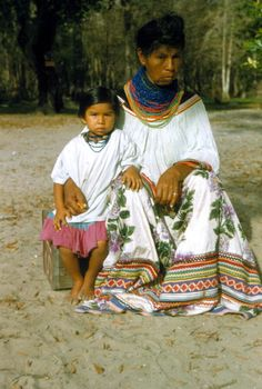 Portrait of a Seminole grandmother and child