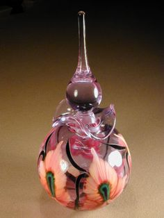 Lotton Art Glass Large Perfume Bottle Multi Flora Design Signed 1996 | eBay