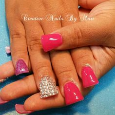 Color Acrylic ....no polish...with some bling ;)