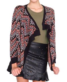 +Draped open placket sweater cardigan  +Geo pattern with metallic thread