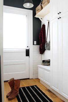 Black + White Mudroom / Design*Sponge / Alison Allen Kitchen Makeover