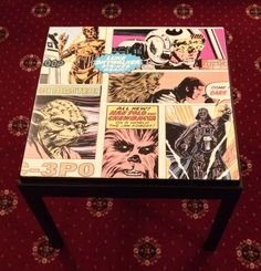 Retro/Vintage Upcycled Star Wars Comic Decoupage Coffee / Side Table Bespoke Delivery Available by PhoenixPieces on Etsy