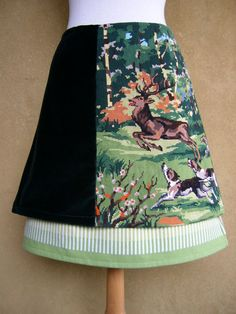 Deer hunting embroidery skirt A-line skirt three by LUREaLURE