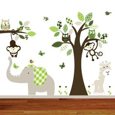 Childrens nursery owl tree decal jungle decal boy by wallartdesign, $140.00