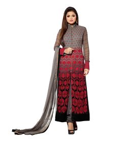 Buy Aashiyana Fashion Gray Faux Georgette Unstitched Dress Material