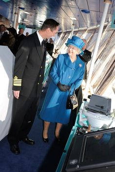 Her Majesty the Queen on board Queen Elizabeth.