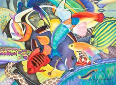 LUCY HAWAIIAN FISHES  silk painting