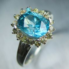 2.90cts Natural Paraiba blue Zircon & yellow sapphires by EVGAD