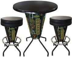 Baylor Bears D1 Black Lighted Pub Table Set. Two additional Stools are optional. Visit SportsFansPlus.com for details.