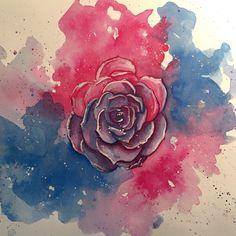 Final image, bisexual pride, bi pride, ink wash, watercolor, succulent, India ink