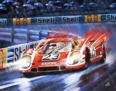 Hans Hermann & Richard Attwood (Porsche 917 K) vainqueur. Le Mans, Gt Cars, Race Cars, Car Posters, Car Drawings, Automotive Art, Car Painting, Cool Cars, Racing