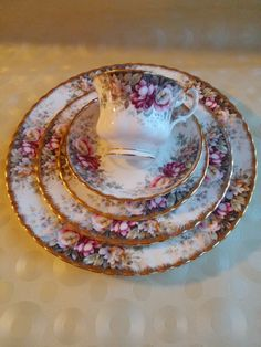 5 piece set of Royal Albert - Autumn Roses Bone China, Royal Albert Place setting, Teacup Trio with side and dinner plate - 2 sets available by Jimpiphanys on Etsy