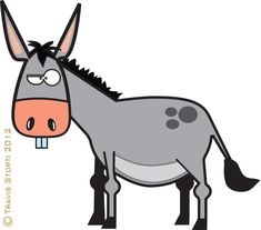 cartoon mule donkey with load
