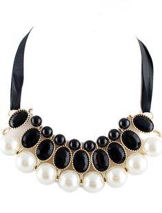 Black Diamond Pearls Necklace EUR€6.53