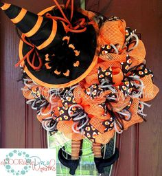 Candy Corn Witch Wreath by aDOORableDecoWreaths on Etsy