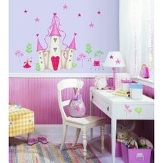 Megs   Roommates Repositionable Childrens Wall Stickers, Princess Castle:  Amazon.co.uk