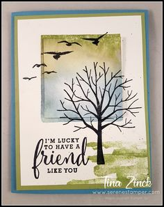 The Serene Stamper: Sheltering Tree Card Tutorial & Video birds from High tide Handmade Birthday Cards, Greeting Cards Handmade, Diy Note Cards, Friendship Cards, Stamping Up Cards, Cards For Friends, Fall Cards, Card Tutorials, Watercolor Cards