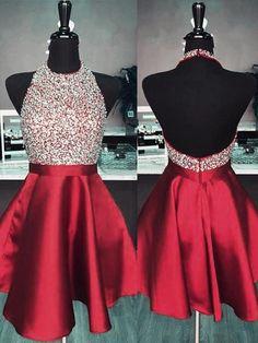 8bde7de8093 Chicloth A-Line Halter Sleeveless Short Mini With Beading Satin Dresses Red  Hoco Dress