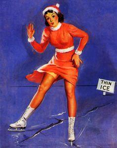 Gil Elvgren | Thin Ice (smooth sailing) 1944-47 #art #pinup #history