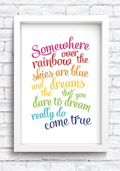 Somewhere Over The Rainbow Framed Print by MuckyPupDesign on Etsy