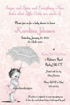 Custom vintage theme baby shower invitation girl I Create You Print Please read description to understand how this works. Please contact me if you have any questions. Please specify size, wording...@ artfire