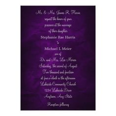 Elegant Purple Silver Monogram Wedding Invitation