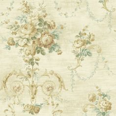 521-70202-Mustard Architectural Floral Scroll wallpaper