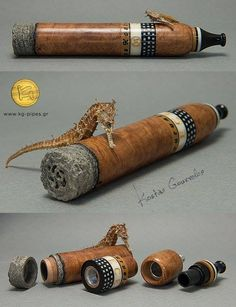 "Cigar-Pipe with my Aspida by Kostas Gourvelos ""Well, a customer of mine needed a cigar pipe but he is used to smoke using my Aspida system. Thus I had to ""invent"" a new version. I started studying Zeppelin and Chris Morgan cigar-pipes (as you can see in the last photo), making many sketches and smoking a lot. I made my own test pipe (dark-brown-blasted in the middle), I tried it many times, made corrections and more sketches and finally came up with my ""robusto"" one that you see today"""