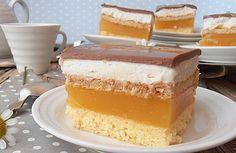 Výborný koláček pod názvem LAMBADA. Žádné máslo v náplni, žádný těžký krém, ale jen skvělá osvěžující chuť! Šťávu můžete použít podle chuti: pomerančovú, hruškovú, jahodovú, ... Czech Recipes, Graham Crackers, Vanilla Cake, Baking Recipes, Sweet Tooth, Picnic, Cheesecake, Good Food, Food And Drink