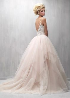 Romantic Tulle Spaghetti Straps Neckline Ball Gown Wedding Dresses With Lace Appliques