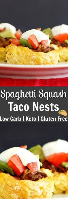 Spaghetti Squash Taco Nests- Low carb, gluten free and grain free