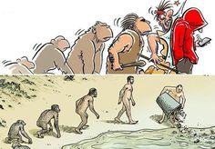 O naturalista inglês Charles Darwin, que faria anos em 12 de fevereiro, difundiu a Teoria da Evolução, resultado de suas pesquisas sobre os organismos vivos e seu processo de seleção natural. Compilada na obra A Origem das Espécies, em 1859, são poucos os que ousam contrariar sua teoria. Para celebrar seu aniversário, o site Bored Panda fez uma seleção de cartoonsque questionam, com muito bom humor e... um tanto de sarcasmo o progresso da humanidade. Pode rir. Ou chorar. Você escolhe. Via…