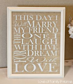 for a wedding or wedding gift... printed and mounted on burlap!!