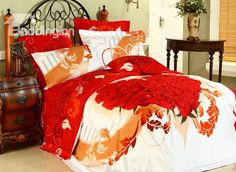 Warmly Heart Shaped Rose 4 Piece Girls Comforter Bedding Sets  @bedding inn