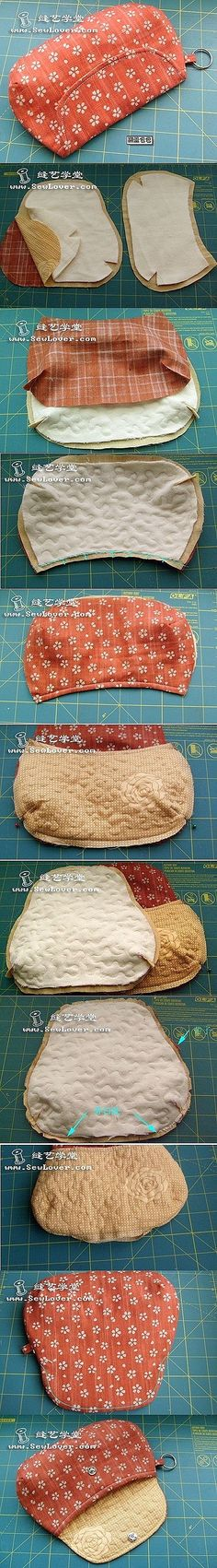 how to sew a clutch or beauty pouch tutorial. tutorial de neceser o bolso de mano DIY - name brand purses on sale, inexpensive handbags, brown and black purse *ad Sewing Hacks, Sewing Tutorials, Sewing Crafts, Sewing Projects, Purse Patterns, Sewing Patterns, Sacs Tote Bags, Diy Sac, Diy Purse