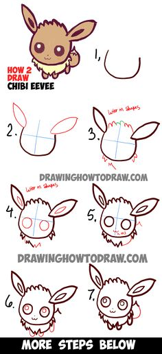 Learn How to Draw Cute Baby Chibi Eevee from Pokemon Simple Steps Drawing Lesson