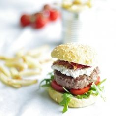 Gluten-free home made burgers with bacon, cream cheese- and tomato-topping. #foodgawker