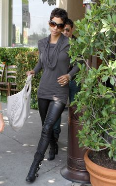 Hall Berry bodyshape - She does boots and a more 'natural' vibe in some of her casual wear.
