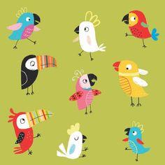 "187 Likes, 10 Comments - Ailie Busby (@ailie_busby) on Instagram: ""Tropical birds #illustratedbirds #kidlitart #brightreads #brightartlicensing #printpattern #tweet…"""