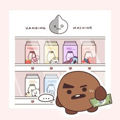 Vanding machine shooky van bts line army kpop Jimin, Bts Bangtan Boy, Chibi Bts, Monsta X, Super Junior, Got7, Bts Drawings, Line Friends, Bts Fans