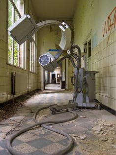 This is a piece of equipment found at an old abandoned hospital. I would like to know what it is that this thing did!