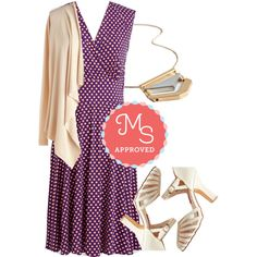 Purple Beige White Polka Dot Outfit
