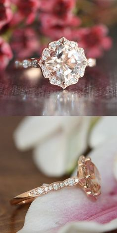 14k rose gold vintage engagement rings