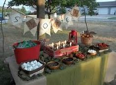 S'mores Bar, for a backyard camp out party. Grad Parties, Birthday Parties, Fourth Birthday, Birthday Ideas, Bonfire Birthday Party, December Birthday, Backyard Camping Parties, Fun Backyard, Camping Theme