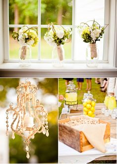 bridesmaid bouquets in each window at the country club. just glitter in the ball jars.