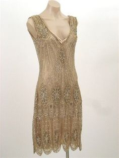 20's Style Gold Beaded Sequined Flapper Dress