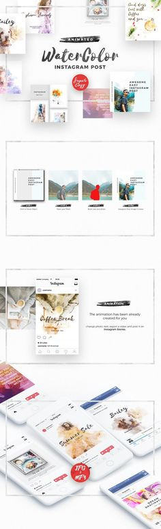 WaterColor Animated Instagram Posts by ShapeSlide on @creativemarket